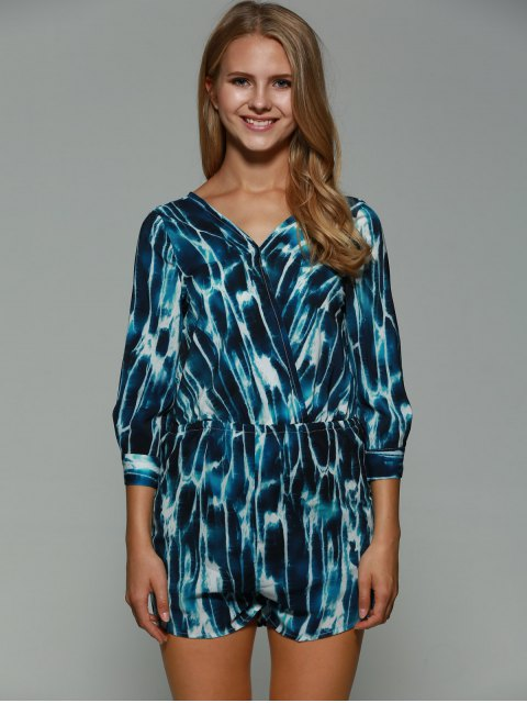 outfits Print Backless Plunging Neck Long Sleeve Playsuit - COLORMIX L Mobile