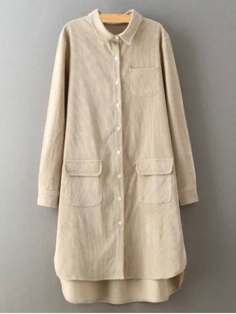 hot Corduroy High-Low Shirt - CRYSTAL CREAM M Mobile