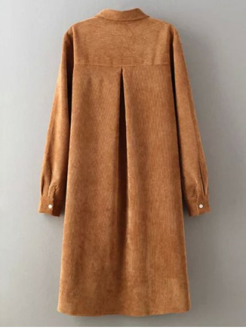 outfits Corduroy High-Low Shirt - YELLOW L Mobile