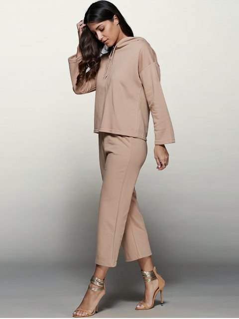 trendy Pullover Hoodie With Culotte Pants - APRICOT S Mobile
