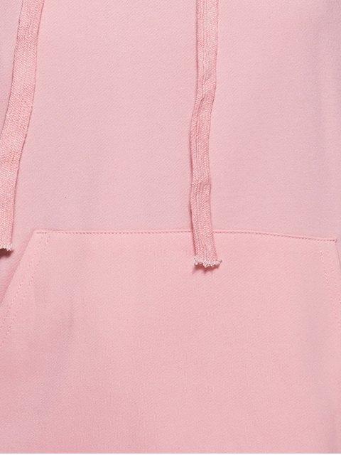 shop Big Pocket Long Sleeve Drawstring Hoodie - PINK S Mobile