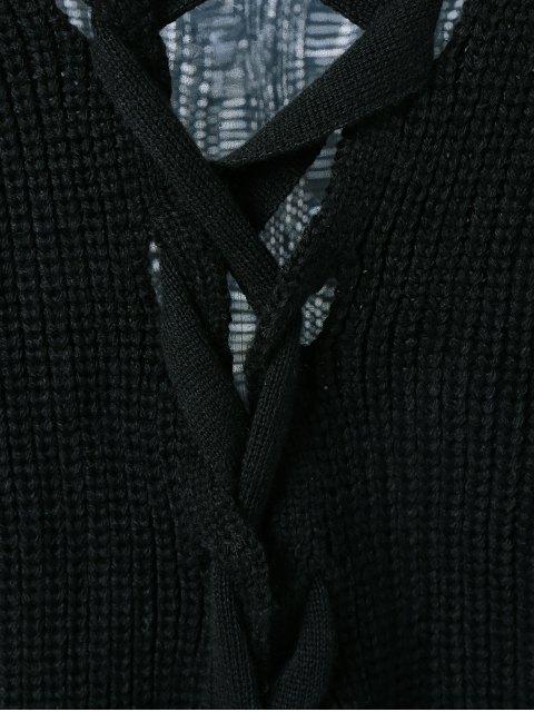 women Drop Shoulder Lace Up Sweater - BLACK M Mobile