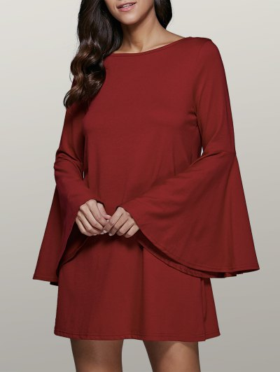 Flare Sleeve Swing Dress - Dark Red