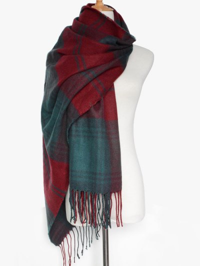 Double Color Plaid Fringe Scarf - DARK RED  Mobile