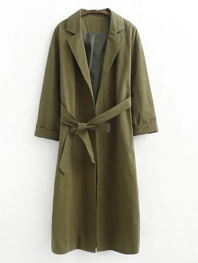 Buttonless Raglan Sleeve Trench Coat - Army Green