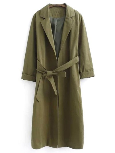 Belted Lapel Trench Coat - Green