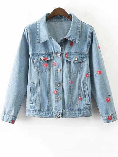 Cherry Print Denim Jacket - Light Blue