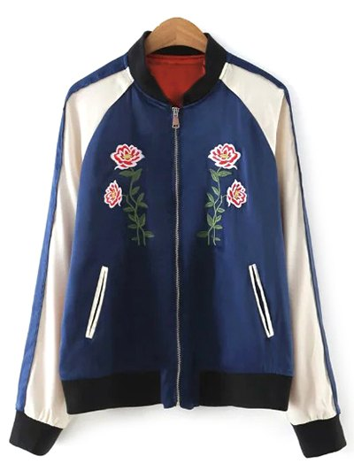 Color Block Floral Jacket - Purplish Blue
