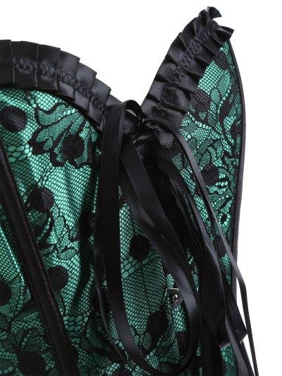 Steel Boned Sweetheart Neck Lace Corset - GREEN XL Mobile