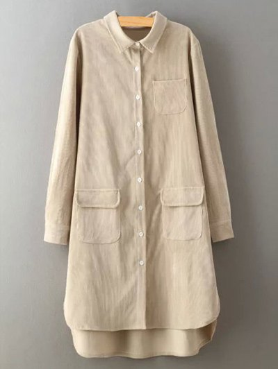 Corduroy High-Low Shirt - CRYSTAL CREAM M Mobile