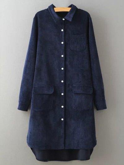 Corduroy High-Low Shirt - PURPLISH BLUE M Mobile
