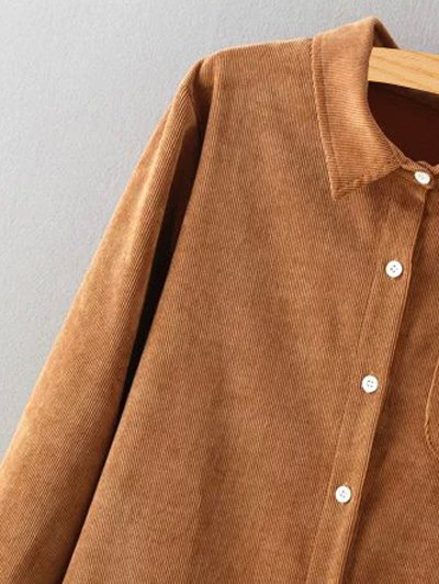 Corduroy High-Low Shirt - BLACKISH GREEN L Mobile