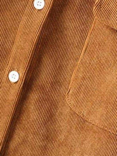 Corduroy High-Low Shirt - BLACKISH GREEN M Mobile