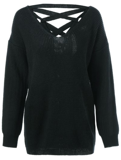 Drop Shoulder Lace Up Sweater - BLACK L Mobile