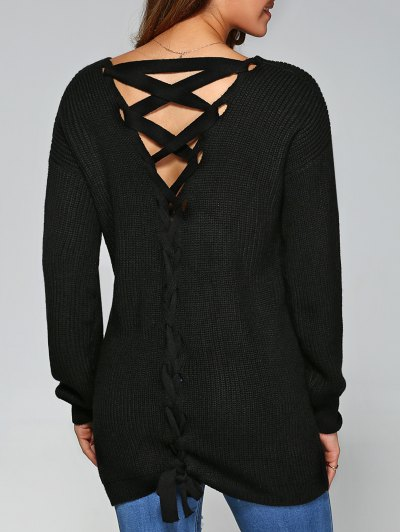 Drop Shoulder Lace Up Sweater - BLACK XL Mobile