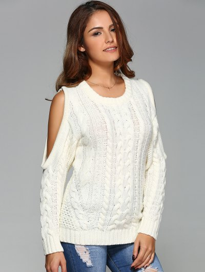 Cable Knit Cold Shoulder Pullover Sweater - OFF-WHITE M Mobile