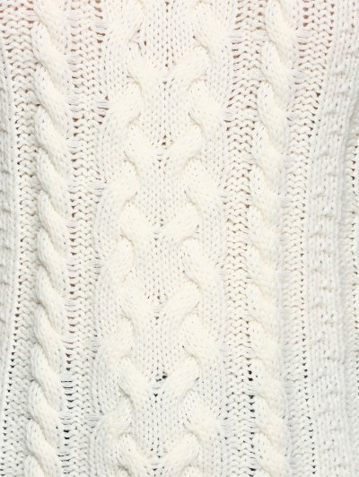 Cable Knit Cold Shoulder Pullover Sweater - OFF-WHITE XL Mobile