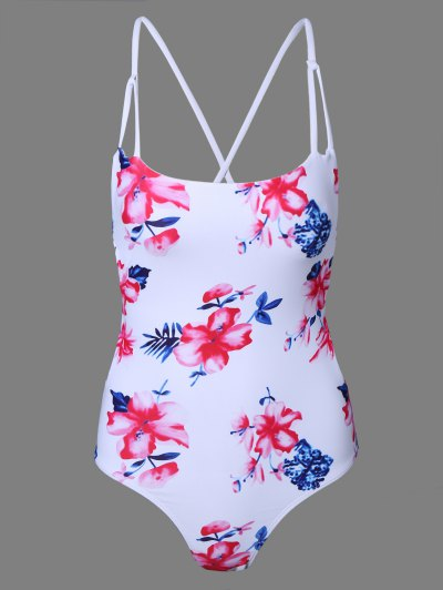 Floral Print One-Piece Swimsuit - White