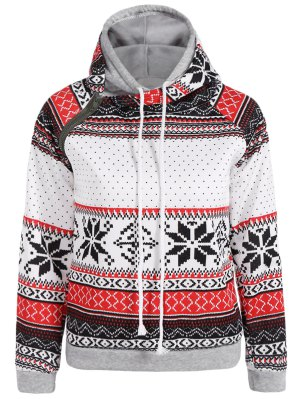 Snowflake Print Double Hooded Inclined Zipper Hoodie - White
