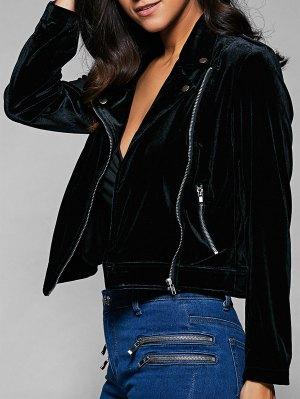 Multiple Zippers Lapel Collar Jacket - Black