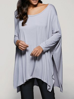 Batwing Sleeve Side Slit T-Shirt - Light Gray