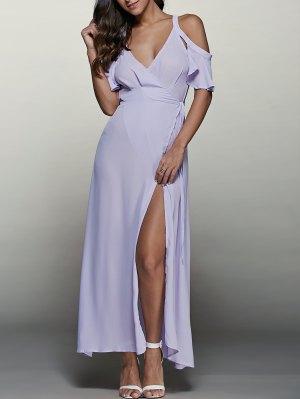 High Furcal Wrap Sexy Prom Dress - Light Purple