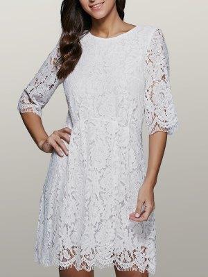 Lace Skater Dress - White