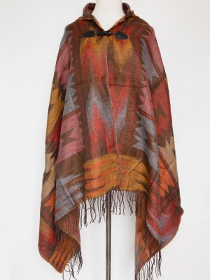 Grometric Fringe With Hat Poncho - Vermilion