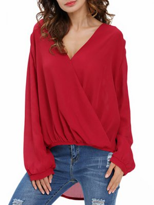 Draped Front Crossover Chiffon Top - Wine Red