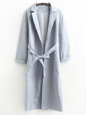 Buttonless Raglan Sleeve Trench Coat - Gray