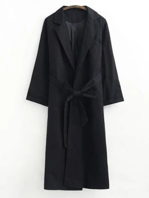 Buttonless Raglan Sleeve Trench Coat - Black