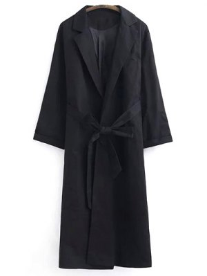 Belted Lapel Trench Coat - Black