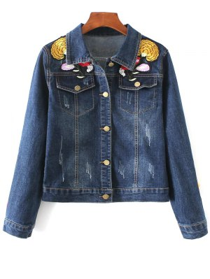 Fringed Embroidery Denim Jacket - Blue