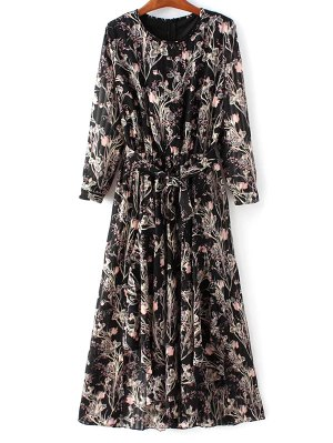 Chiffon Belted Floral Dress - Black