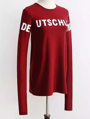 Contrast Letter Print Long Sleeve T-Shirt - Wine Red