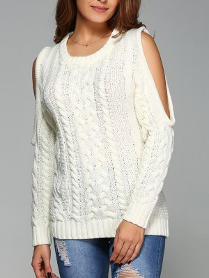 Cable Knit Cold Shoulder Pullover Sweater - Off-white
