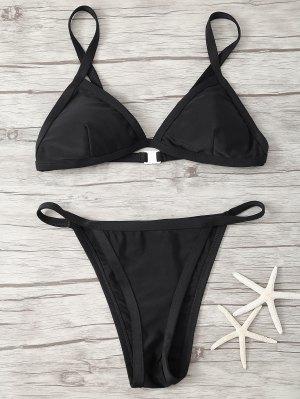 Spaghetti Strap Low Waisted Bikini - Black