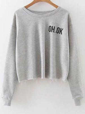 Raw Edge Slouchy Cropped Sweatshirt - Gray