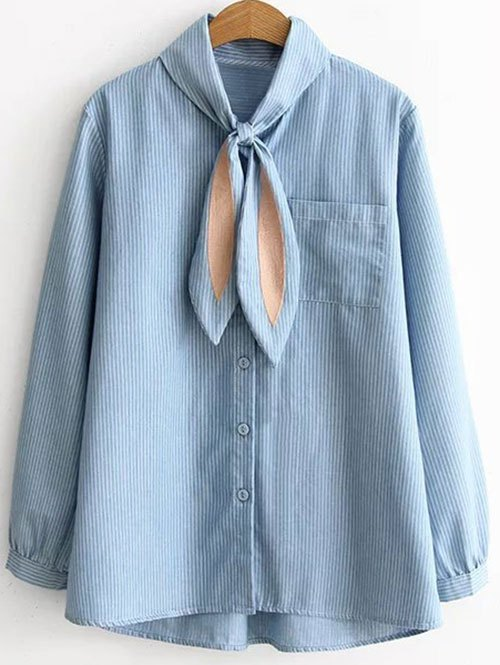 Striped Pocketed Loose Shirt