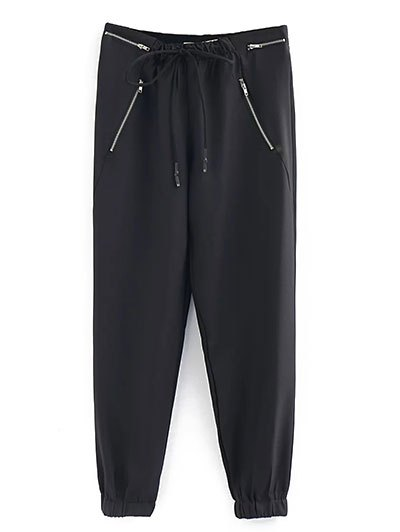 Zipped Drawstring Running Pants