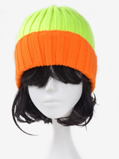 Fluorescence Color Block Knitted Hat