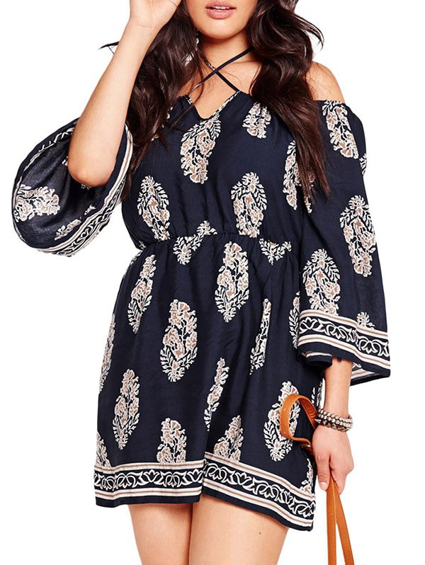 Plus Size Cold Shoulder Dress