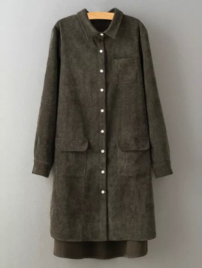 Corduroy High-Low ShirtClothes<br><br><br>Size: M<br>Color: BLACKISH GREEN