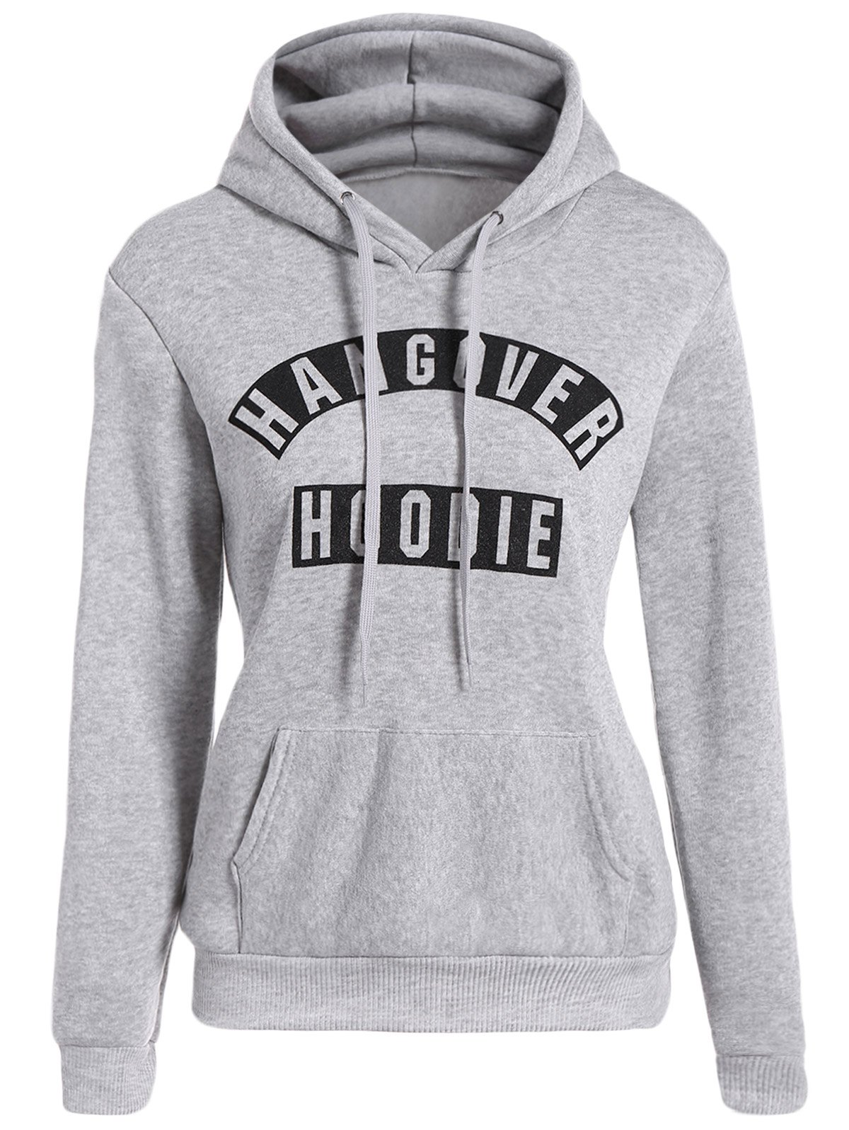 Long Sleeve Letter Print Front Pocket Hoodie