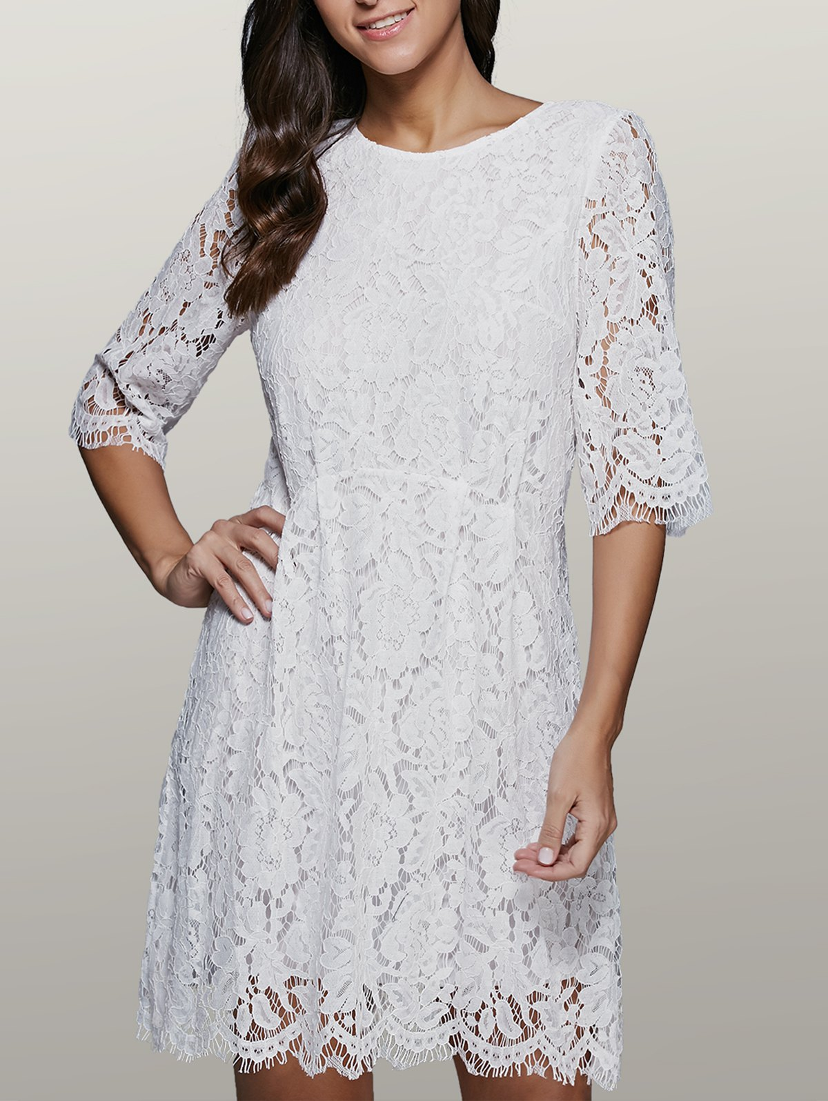 Three Quarter Sleeve Lace Skater Dress