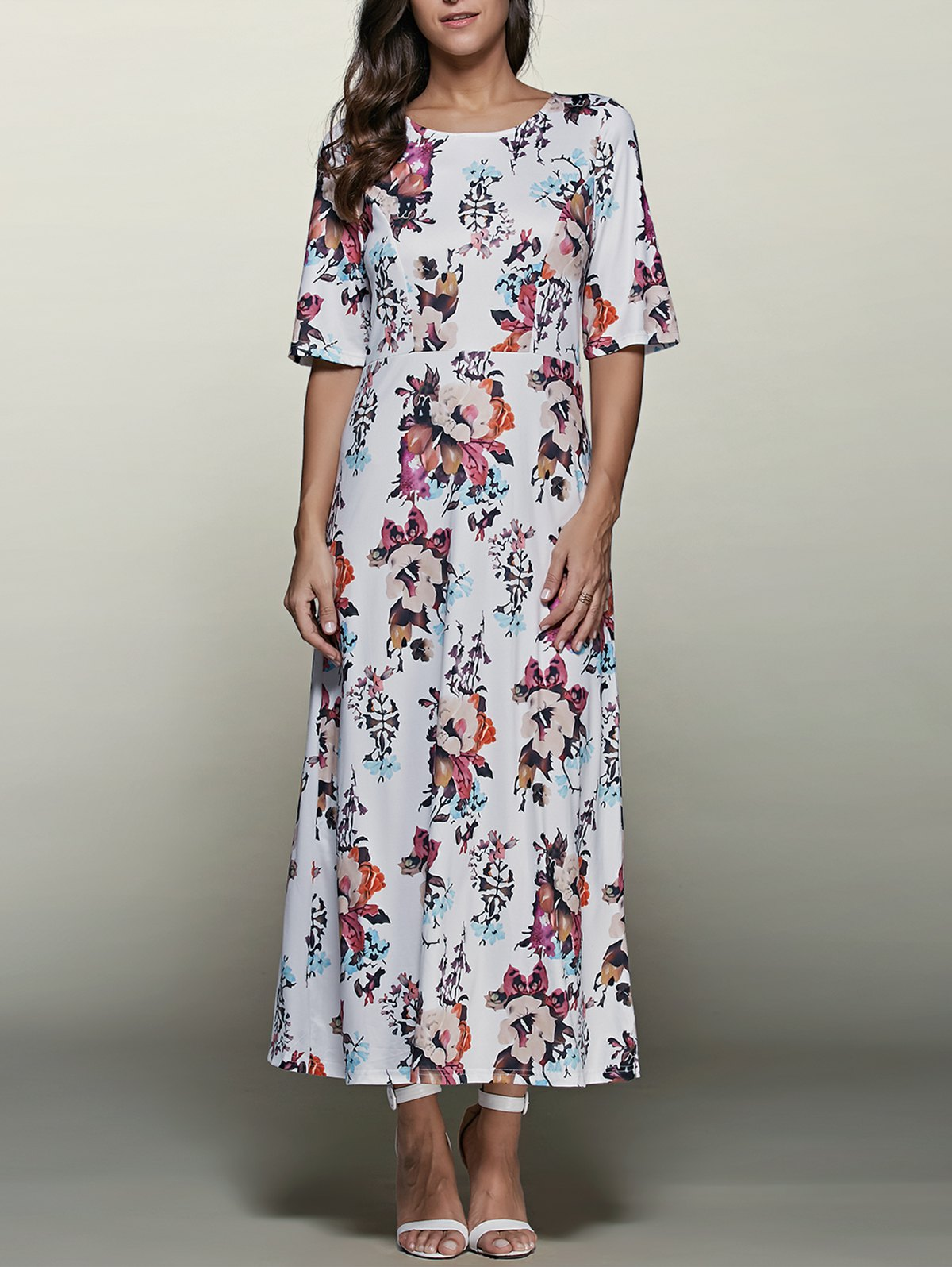 Round Neck Half Sleeve Printed Maxi Dress