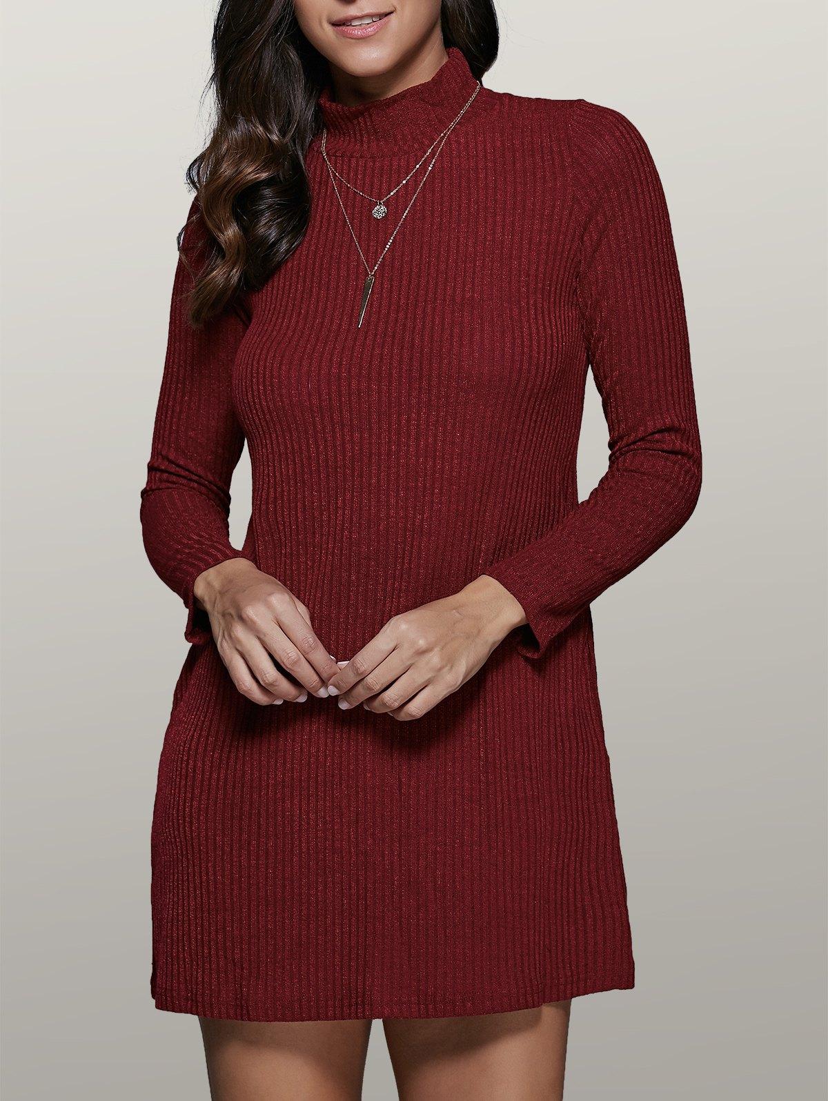 Mini A Line Long Sleeve Sweater Dress - WINE RED XL