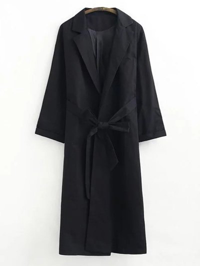 Buttonless Raglan Sleeve Trench CoatClothes<br><br><br>Size: M<br>Color: BLACK
