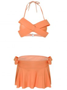 Halter Bowknot Padded Skirtini - Orange M