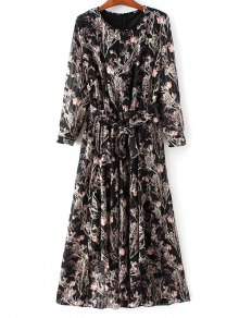 Chiffon Belted Floral Dress